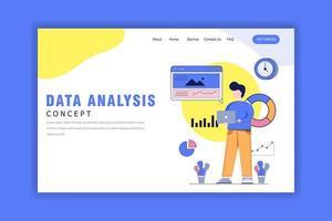 concetto di design piatto di analisi dei dati vettore