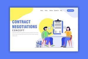 concetto di design piatto della pagina di destinazione delle trattative contrattuali vettore