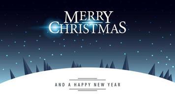 cartolina con logo di saluto e paesaggio notturno invernale vettore
