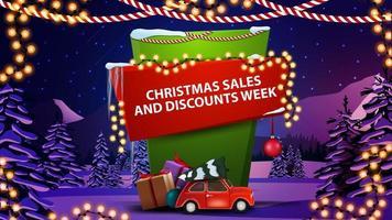 banner settimana di vendite e sconti natalizi vettore