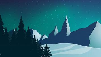 paesaggio notturno invernale con foreste e montagne