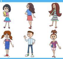set di caratteri per bambini e ragazzi dei cartoni animati vettore