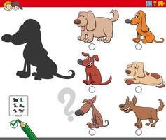 gioco di ombre con simpatici personaggi di cani vettore