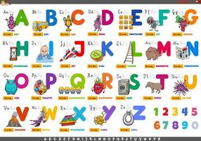 alfabeto con personaggi dei cartoni animati e oggetti impostati vettore