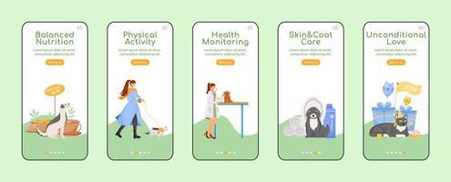 schermate di app mobili per l'onboarding di animali domestici
