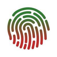 impronta digitale con sfumatura rosso-verde vettore