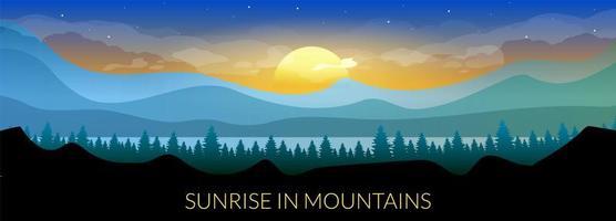 alba in montagna vettore