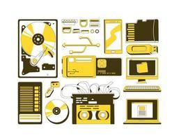 set di oggetti dispositivi di archiviazione dati vettore