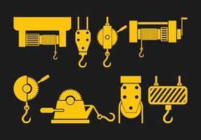 Set di icone di verricello vettore