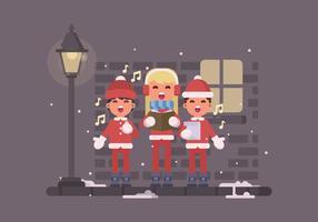 Ragazzini che cantano i canti natalizi sull'illustrazione della via vettore