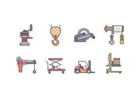 Icone dell'argano e della macchina di sollevamento vettore