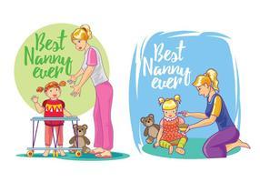 Impostare l'illustrazione dei migliori vettori di babysitter
