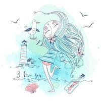 ragazza carina in riva al mare con un uccello gabbiano. vettore