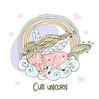 simpatico unicorno con le ali dorme su una nuvola vettore