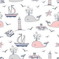 tema marino con navi e balene.