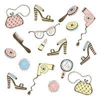 set di accessori da donna, cosmetici.