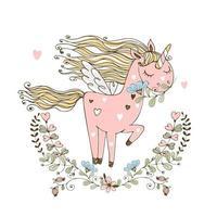 carino unicorno rosa con le ali vettore