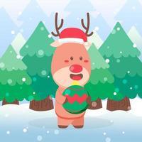 simpatico personaggio natalizio di renne tenendo l'ornamento