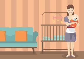 Vettore gratuito di baby-sitter della tata