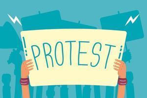 mani che tengono un'icona di banner di protesta vettore