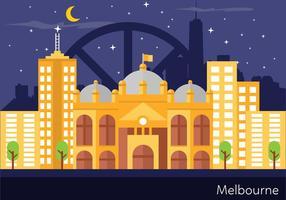 Illustrazione del paesaggio di Melbourne vettore