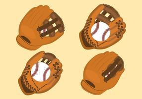 Set di guanti softball vettore