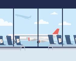 sala lounge dell'aeroporto con sfondo a distanza sociale vettore