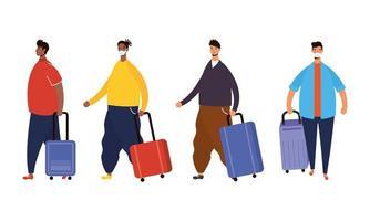 viaggiatori maschi interrazziali con personaggi avatar valigie