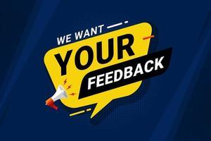 banner di feedback e recensione per la soddisfazione del cliente vettore