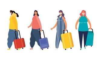viaggiatori femminili interrazziali con personaggi avatar di valigie