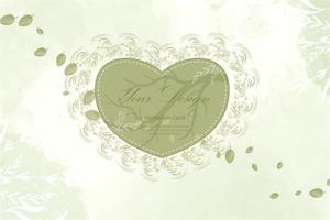 cornice cuore verde con disegno di foglie