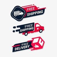 set di badge per il servizio di consegna gratuita vettore