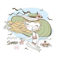 una ragazza carina sta prendendo il sole sulla spiaggia vettore