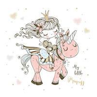 una favolosa principessa carina cavalca un unicorno rosa.