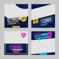 cyber lunedì vendita banner modelli di social media vettore