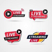 pulsante live streaming, set di badge vettore