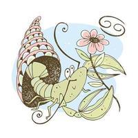 segno zodiacale cancro. simpatico crostaceo con un fiore vettore