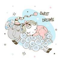 bambina che dorme dolcemente su una pecora.