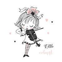 una bambina carina suona il violino vettore