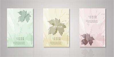 set di copertine di foglie d'autunno dell'acquerello