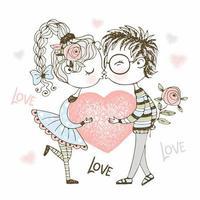 un ragazzo e una ragazza che si baciano e tengono il cuore. vettore