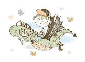 un ragazzino che vola su un drago da favola vettore