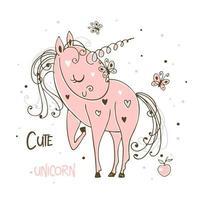 dolce unicorno rosa carino con farfalle vettore