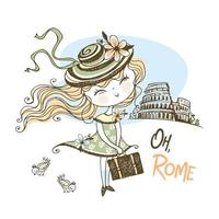una bella ragazza in viaggio a roma vettore