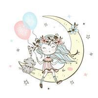 ragazza con un gatto seduto sulla luna