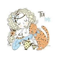 una ragazza sta bevendo il tè con il suo gatto vettore