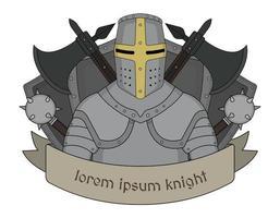 emblema del cavaliere medievale vettore