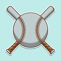 carino baseball con cartoon pipistrelli incrociati vettore