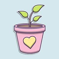 cartone animato carino vaso di piante vettore