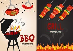 Illustrazione vettoriale di brochette e barbecue